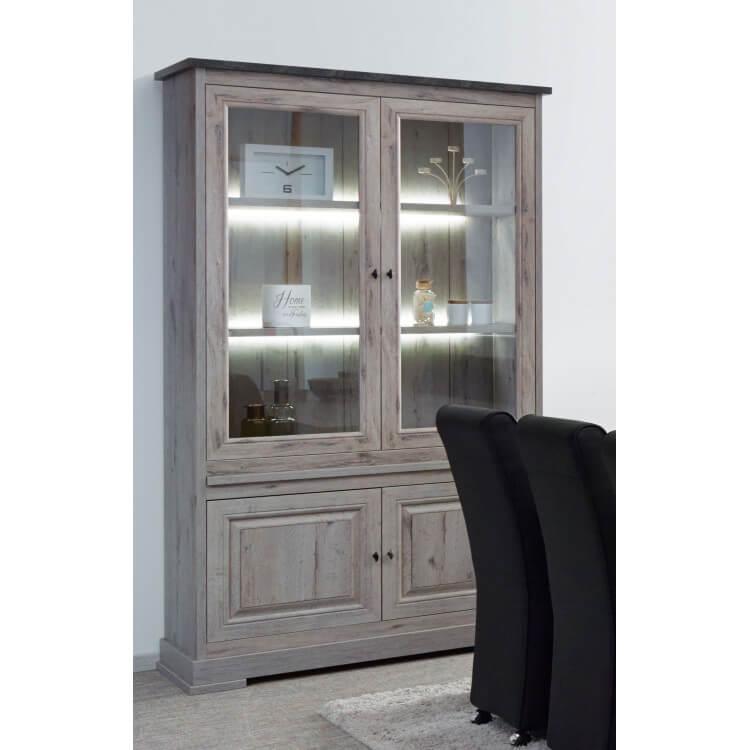 Vaisselier/argentier contemporain portes vitrées coloris chêne nature/gris marbre Bogotta
