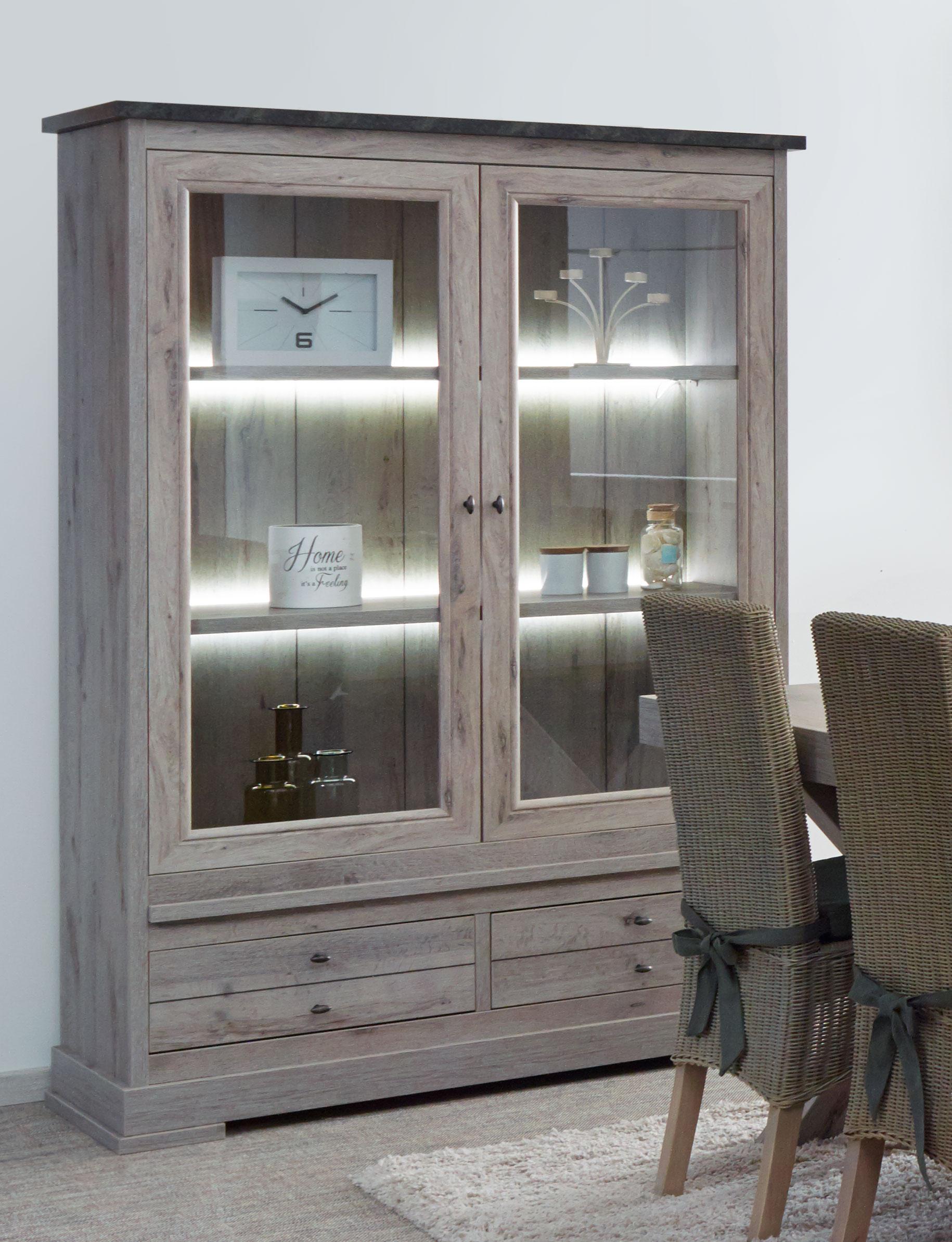 Vaisselier/argentier contemporain portes vitrées coloris chêne nature/gris marbre Bogotta II