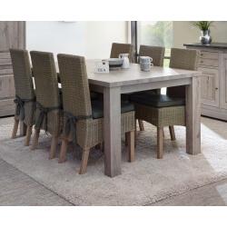 Table de salle à manger contemporaine coloris chêne naturel Bogotta