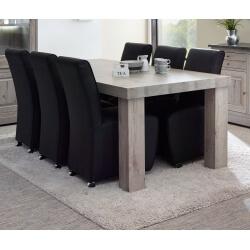 Table de salle à manger contemporaine coloris chêne naturel Bogotta I