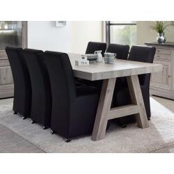 Table de salle à manger contemporaine coloris chêne naturel Bogotta III