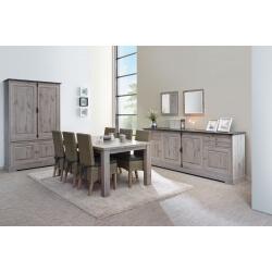 Salle à manger contemporaine coloris chêne naturel/gris marbre Bogotta
