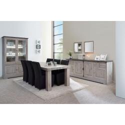Salle à manger contemporaine coloris chêne naturel/gris marbre Bogotta I