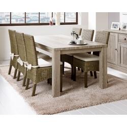 Table de salle à manger contemporaine coloris chêne beige Mayorke