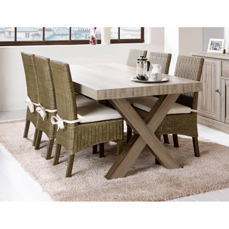 Table de salle à manger contemporaine coloris chêne beige Mayorke II