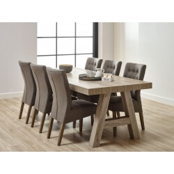 Table de salle à manger contemporaine coloris chêne beige Mayorke III