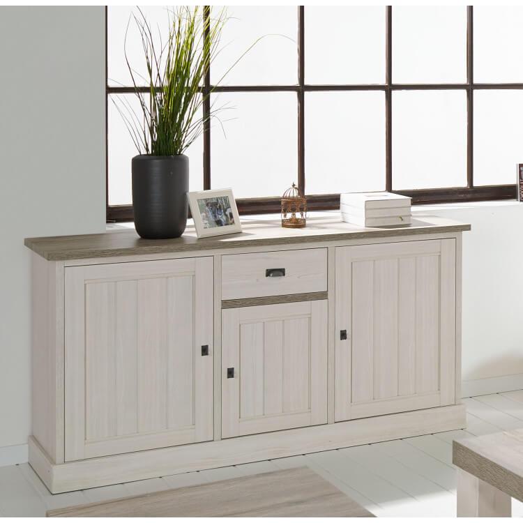 Buffet/bahut contemporain 3 portes/1 tiroir coloris chêne beige/mélèze Samos