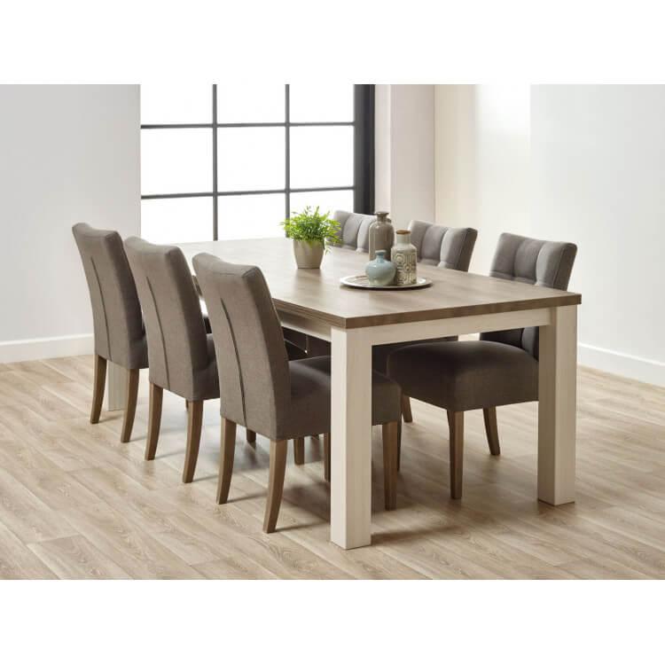 Table de salle à manger contemporaine coloris chêne beige/mélèze Samos