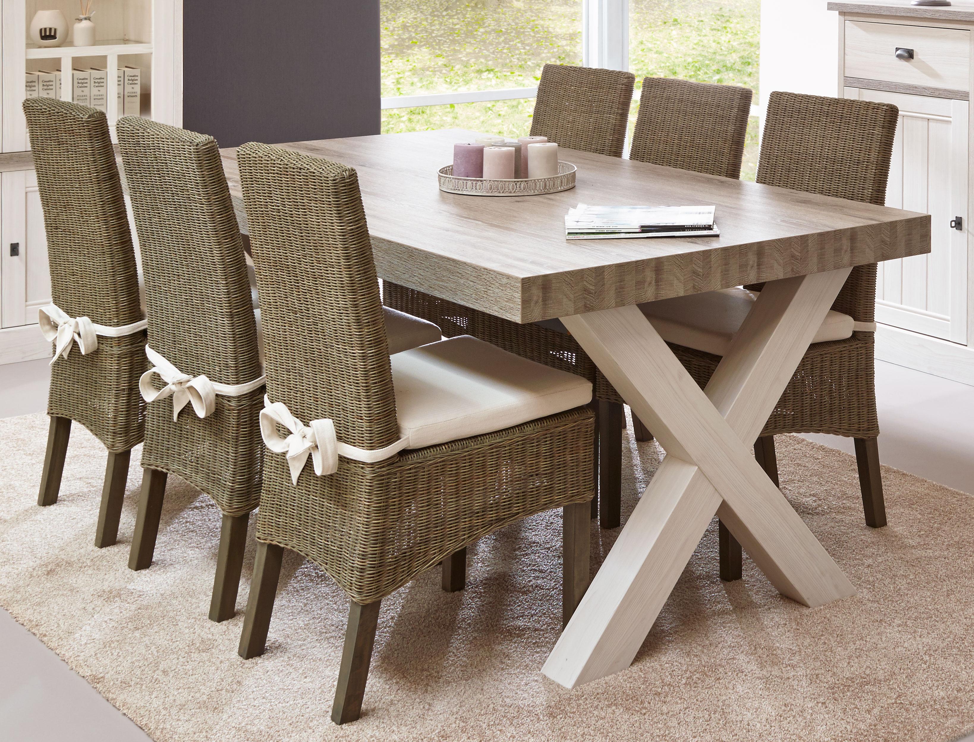 Table de salle à manger contemporaine coloris chêne beige/mélèze Samos II