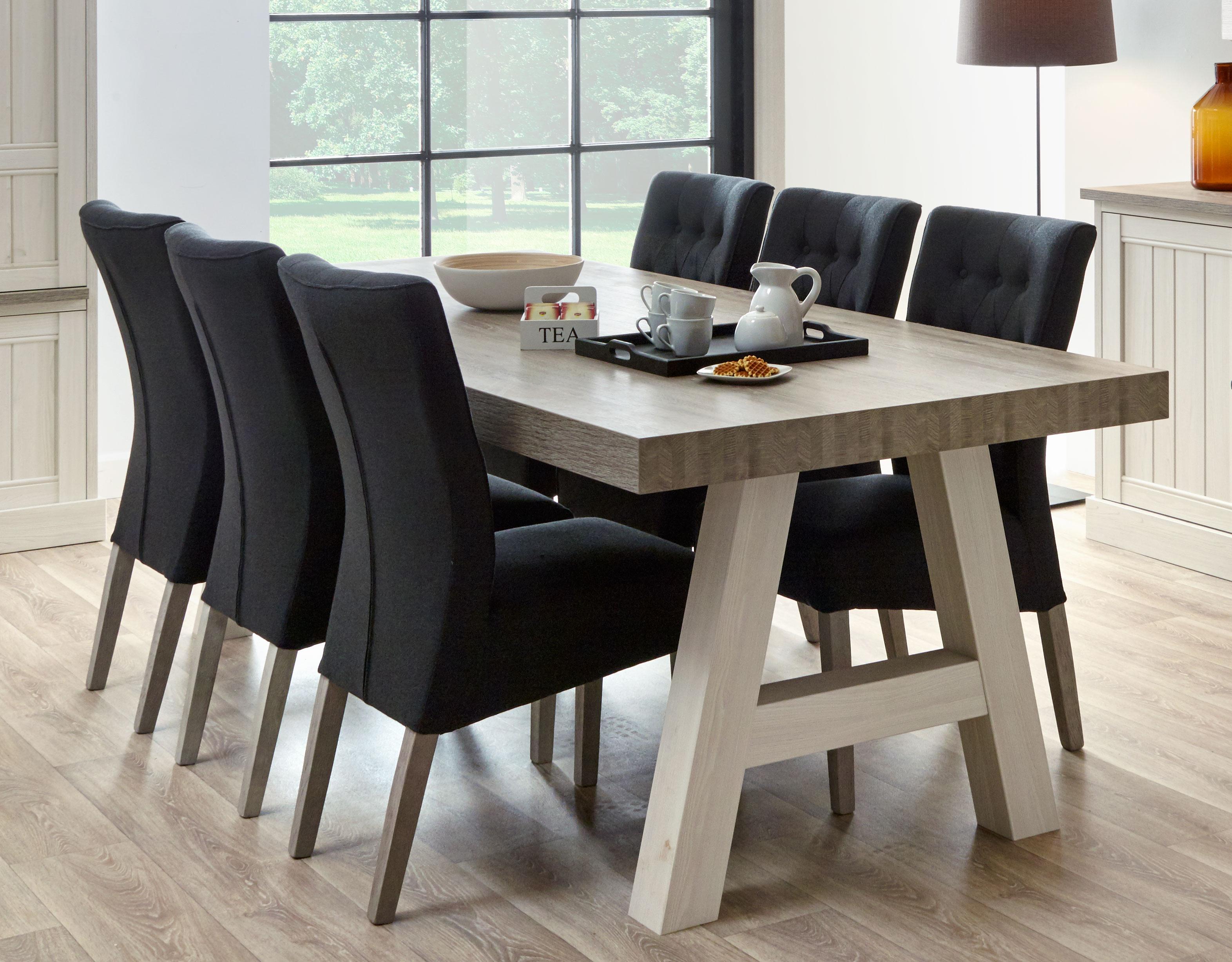 Table de salle à manger contemporaine coloris chêne beige/mélèze Samos III