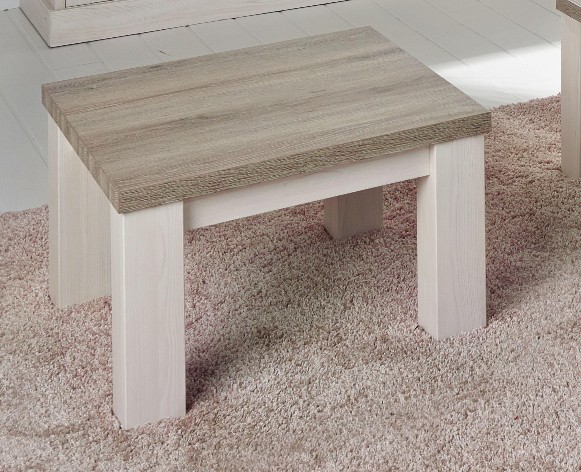 Table basse contemporaine carrée coloris chêne beige/mélèze Samos