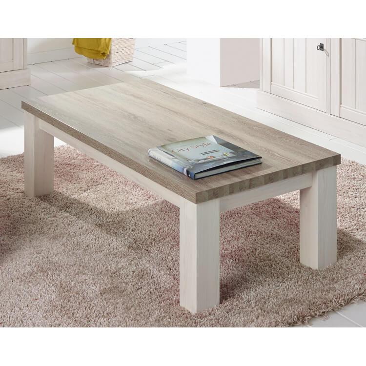 Table basse contemporaine rectangulaire coloris chêne beige/mélèze Samos