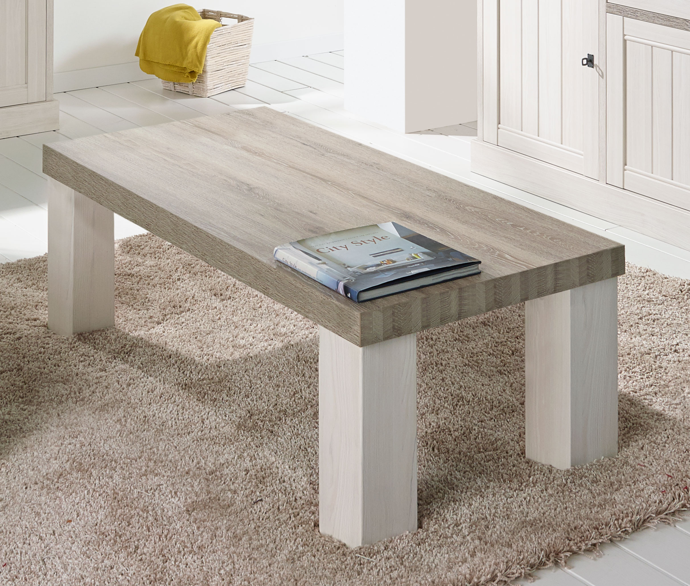 Table basse contemporaine rectangulaire coloris chêne beige/mélèze Samos I