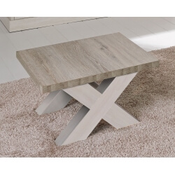 Table basse contemporaine carrée coloris chêne beige/mélèze Samos II