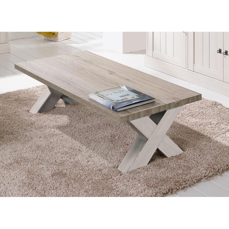 Table basse contemporaine rectangulaire coloris chêne beige/mélèze Samos II