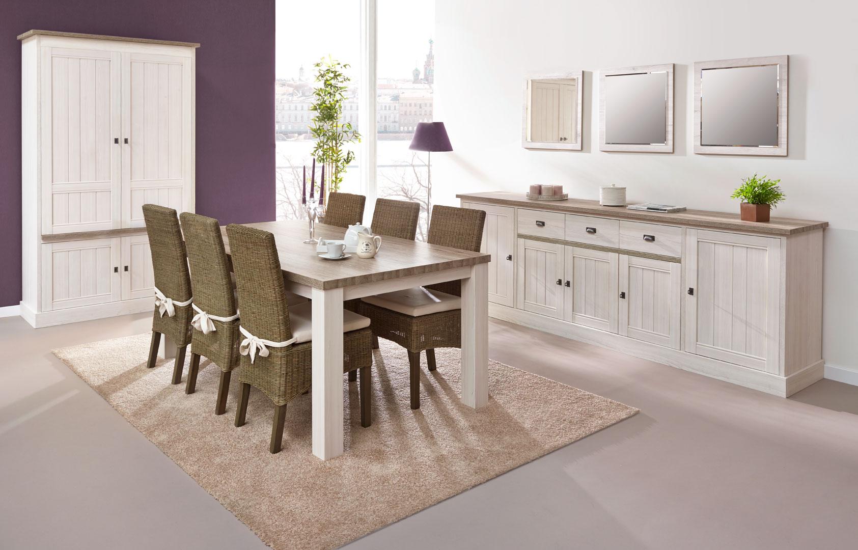 Salle à manger contemporaine coloris chêne beige/mélèze Samos