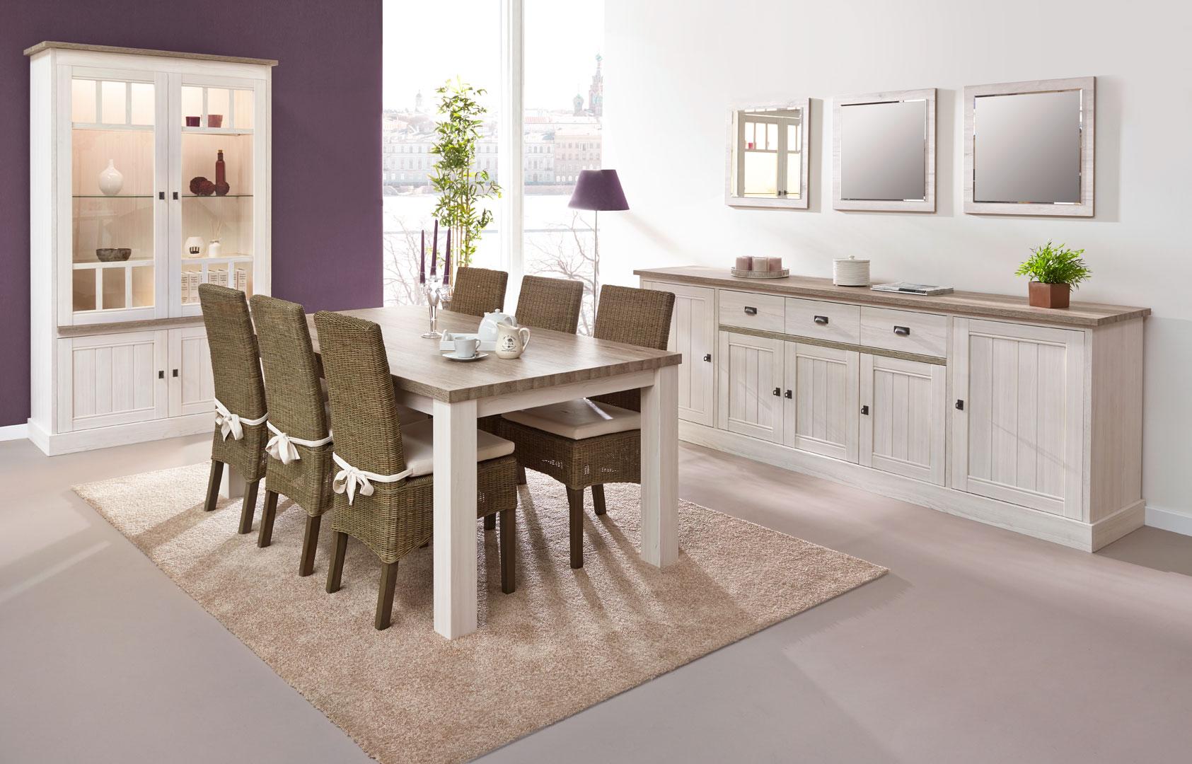 Salle à manger contemporaine coloris chêne beige/mélèze Samos I