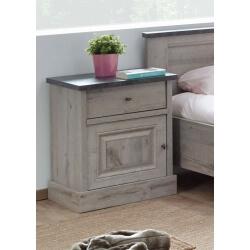 Chevet contemporain coloris chêne/gris marbre Milos