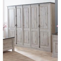 Armoire adulte contemporaine 5 portes coloris chêne/gris marbre Milos