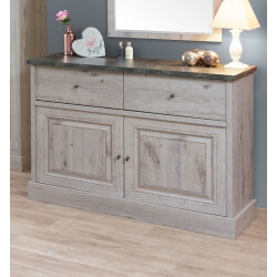 Commode contemporaine 2 portes/2 tiroirs coloris chêne/gris marbre Milos