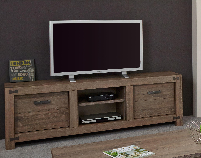 Meuble TV contemporain 189 cm coloris chêne brun Koxie