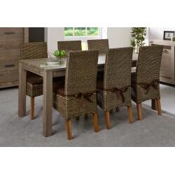 Table de salle à manger contemporaine coloris chêne brun Koxie