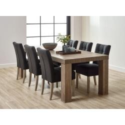 Table de salle à manger contemporaine coloris chêne brun Koxie I