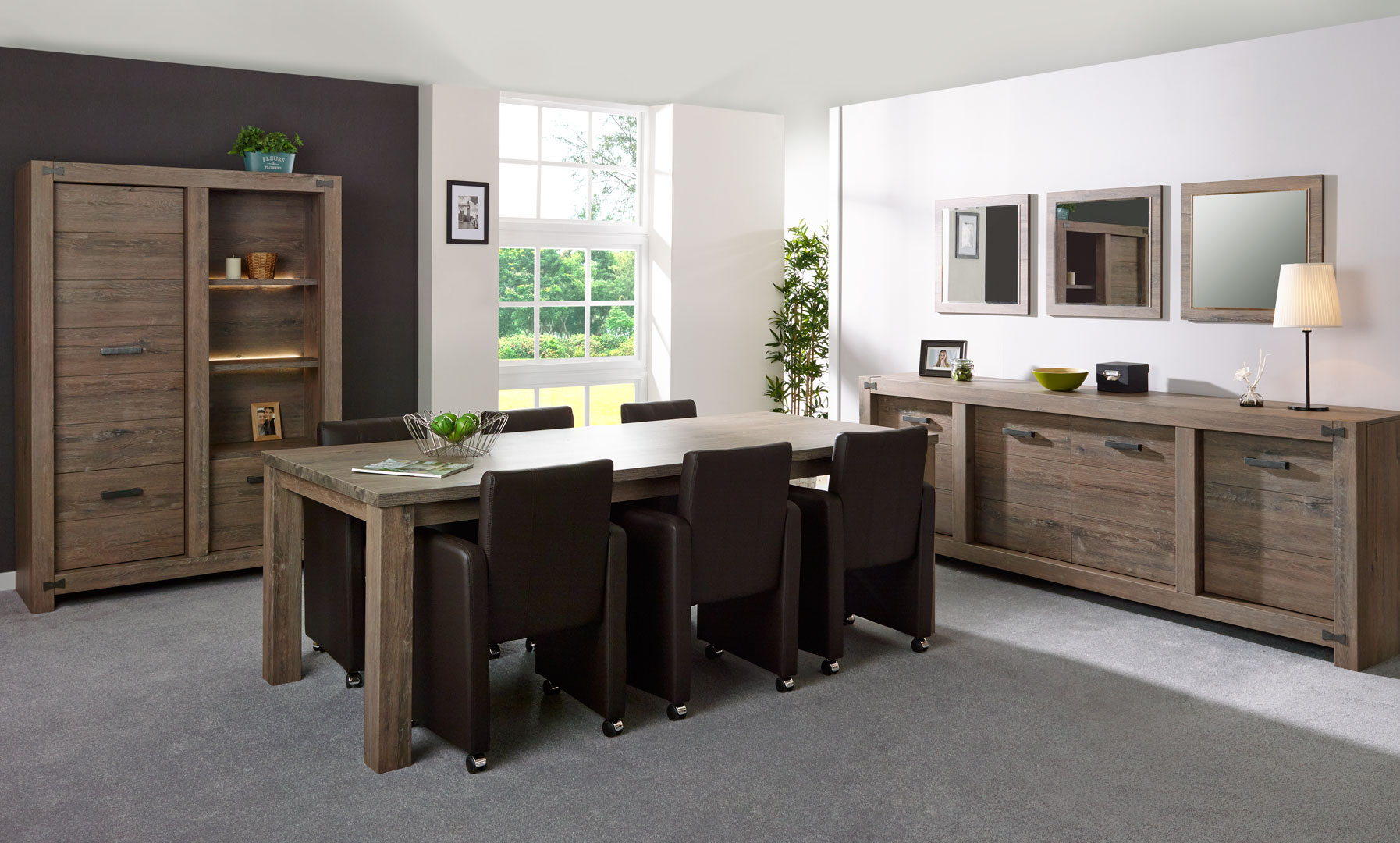 Salle à manger contemporaine coloris chêne brun Koxie I