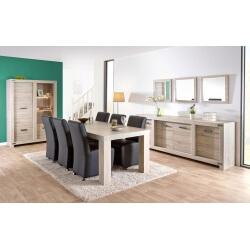 Salle à manger contemporaine coloris chêne gris clair Robbie I