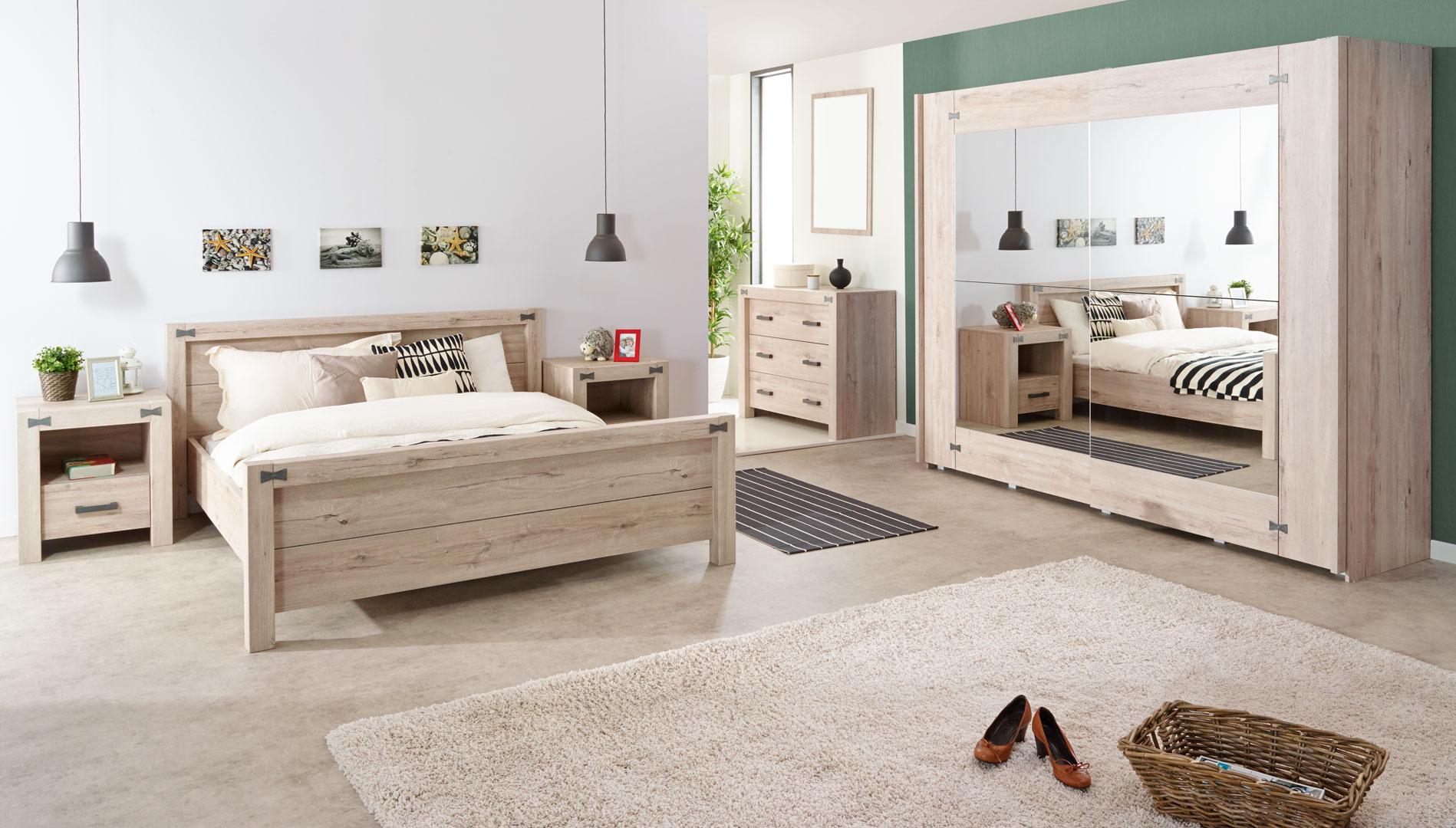 Chambre adulte contemporaine coloris chêne gris clair Josie   Matelpro