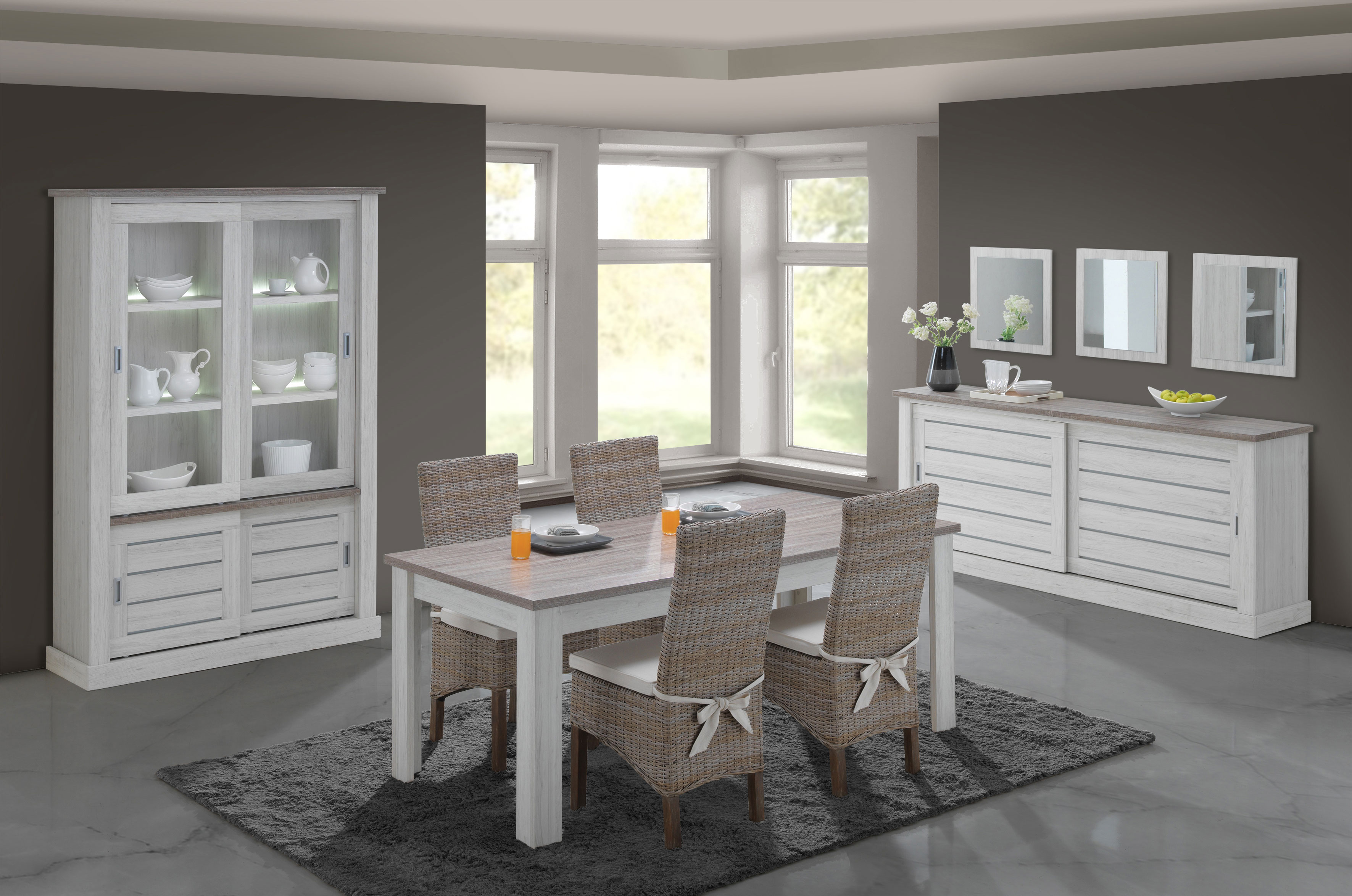 Salle à manger contemporaine coloris chêne clair/brun Adena