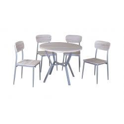 Ensemble table et chaises contemporain chêne/gris Nordic