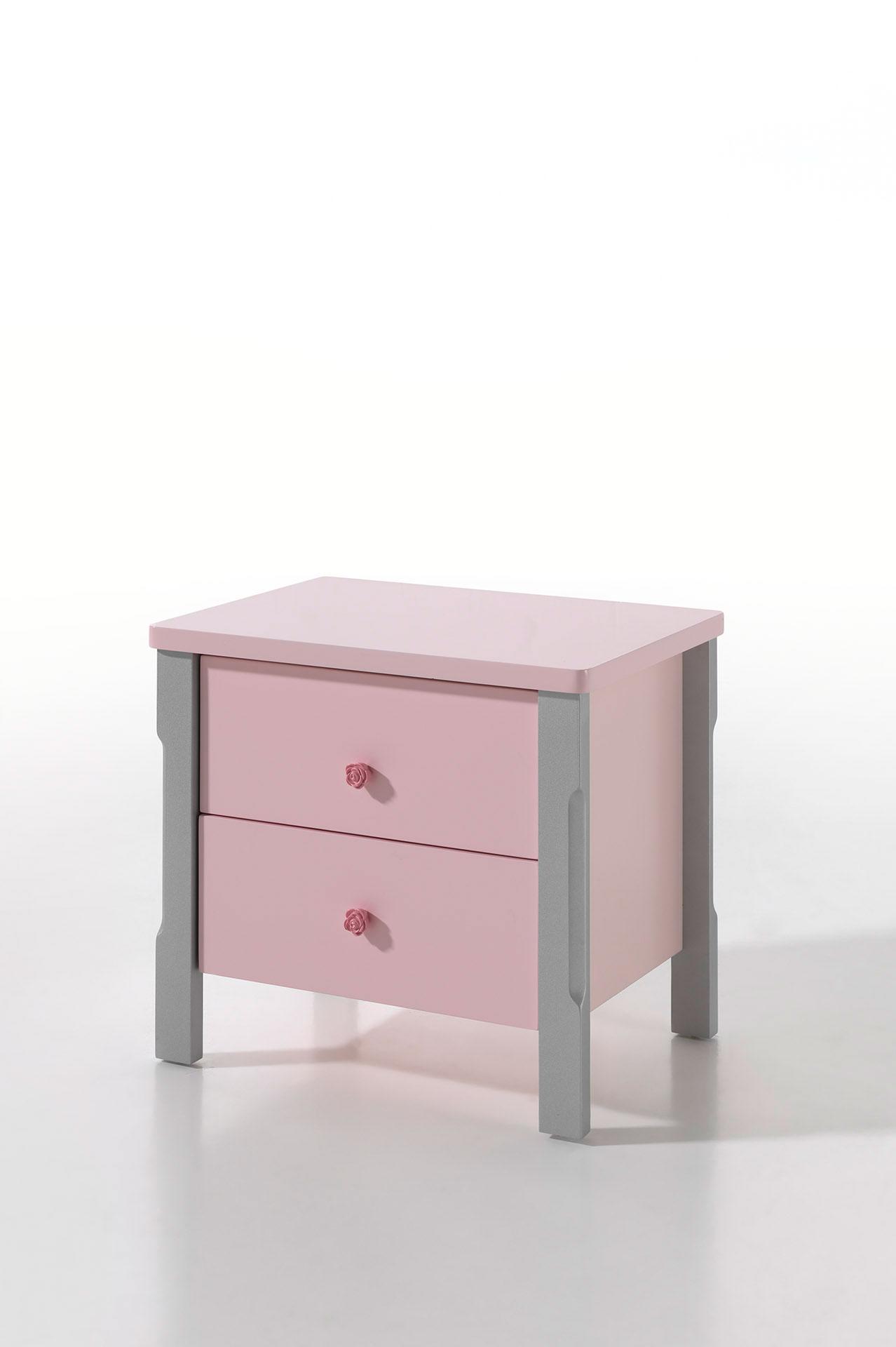 Chevet enfant contemporain coloris rose Mindy
