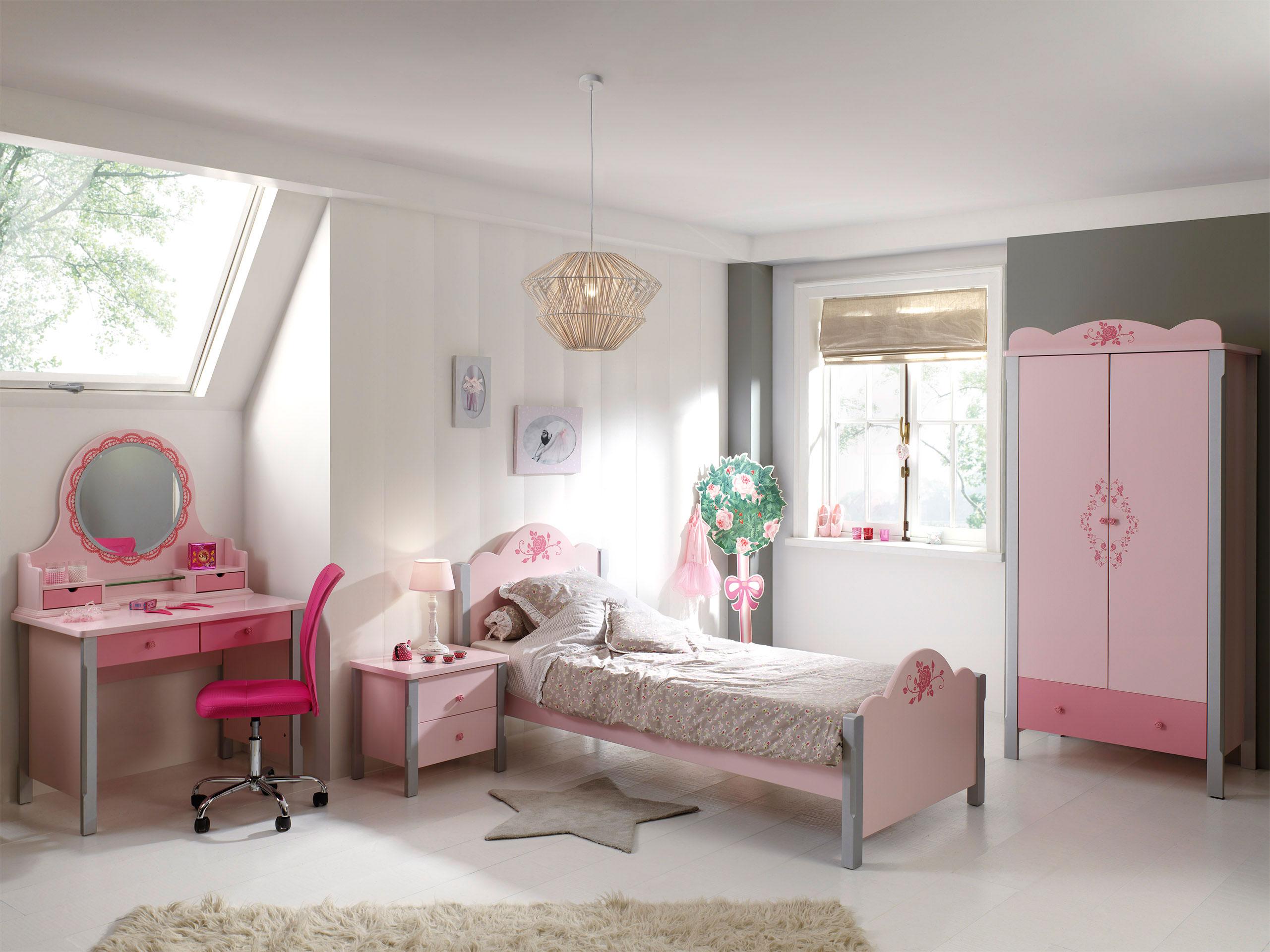 Chambre enfant contemporaine coloris rose Mindy | Matelpro