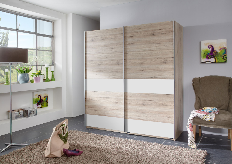 Armoire contemporaine portes coulissantes chêne clair/blanc Sylvestre