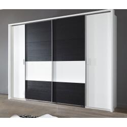 Armoire adulte contemporaine blanc alpin/chêne noir Tango