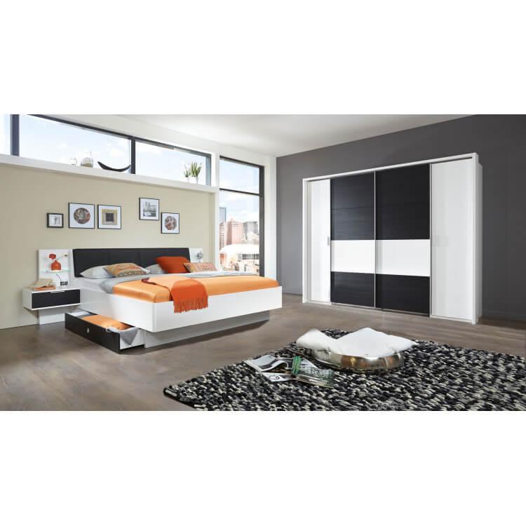 Chambre adulte contemporaine blanc alpin/chêne noir Tango | Matelpro