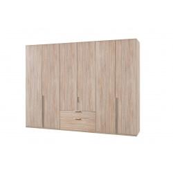 Armoire adulte contemporaine 6 portes/2 tiroirs chêne clair Florida