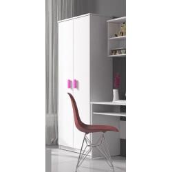 Armoire enfant contemporaine 2 portes coloris blanc/rose Myke