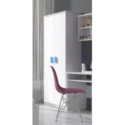 Armoire enfant contemporaine 2 portes coloris blanc/bleu Myke