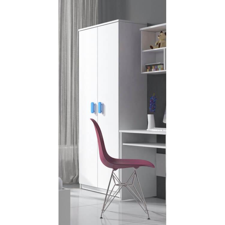 Armoire enfant contemporaine 2 portes coloris blanc/bleu Myke | Matelpro