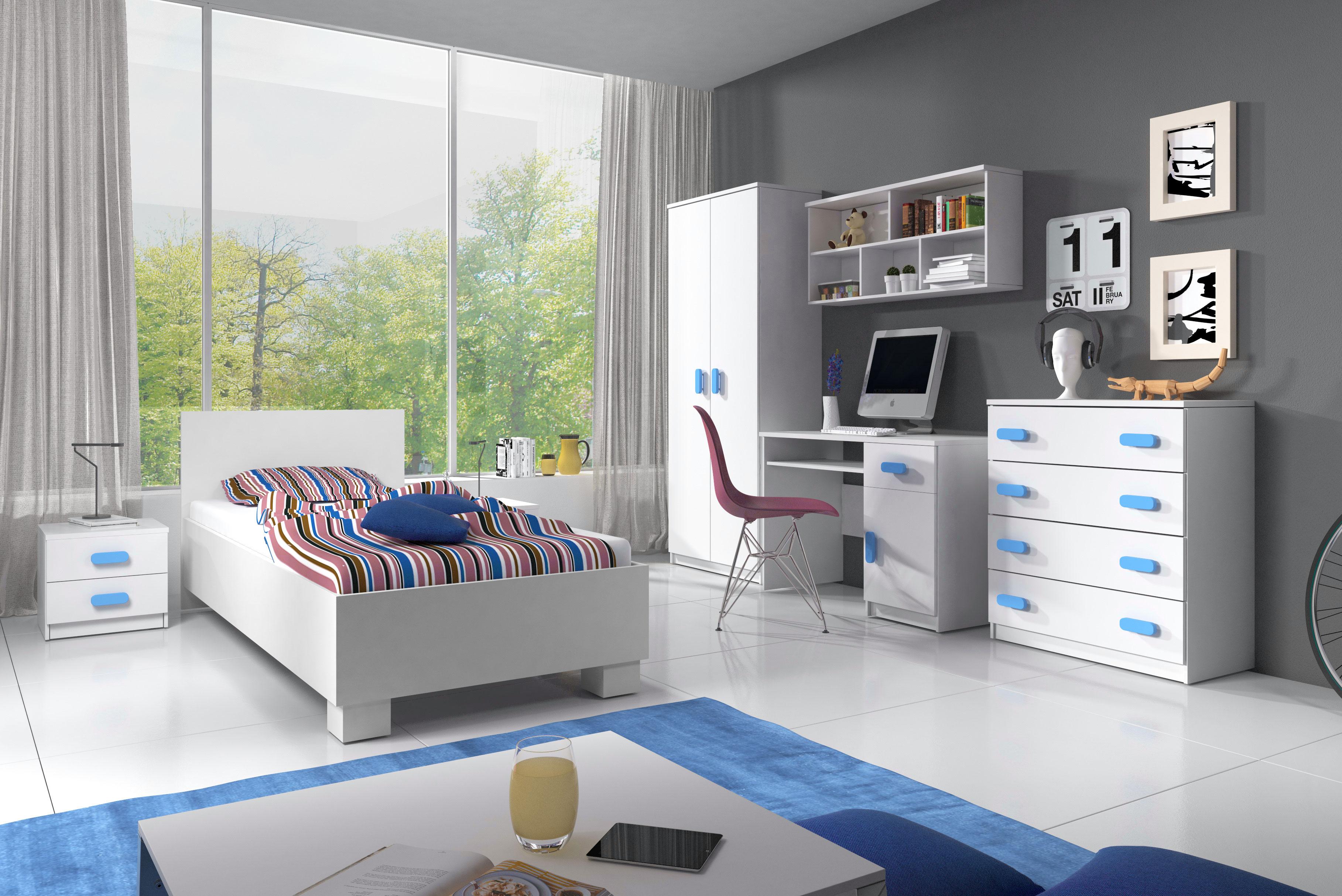 Chambre enfant contemporaine coloris blanc/bleu Myke   Matelpro