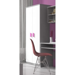 Armoire enfant contemporaine 2 portes gris/blanc/rose Myke