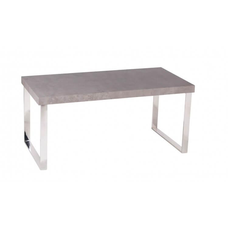 Table basse design rectangulaire métal et bois coloris béton Grenade
