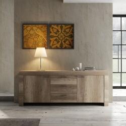 Buffet/bahut contemporain 2 portes/3 tiroirs chêne canyon Osland
