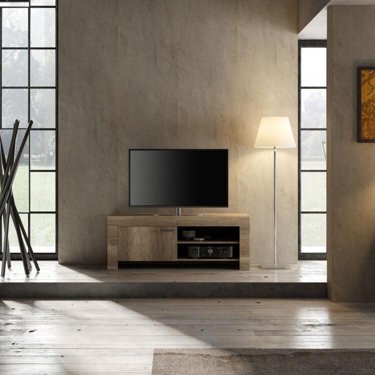 Meuble TV contemporain 140 cm chêne canyon Osland