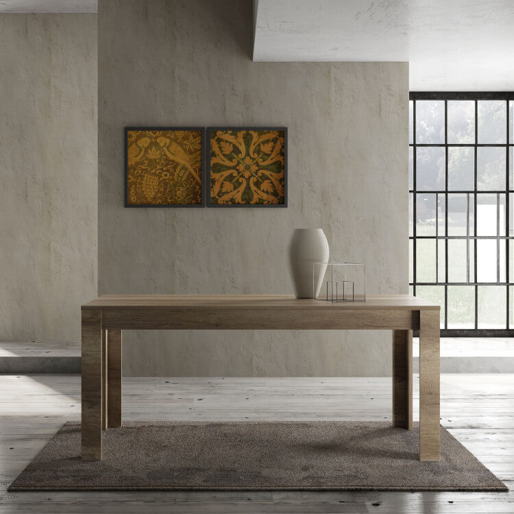 Table de salle à manger contemporaine chêne canyon Osland