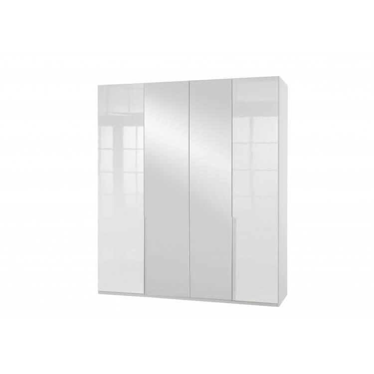 Armoire adulte design 4 portes/2 miroirs laqué blanc cassé Orlando