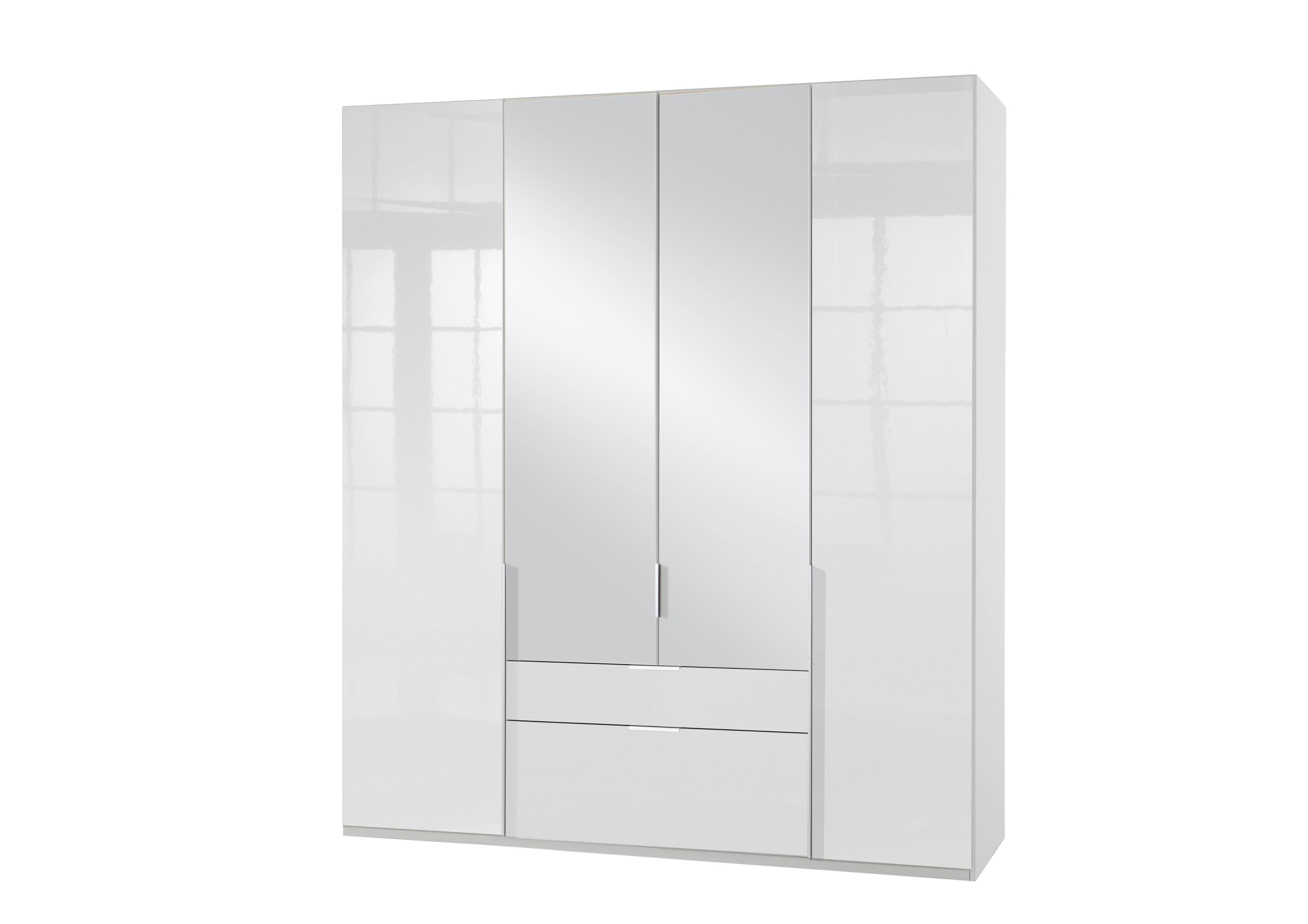 Armoire adulte design 4 portes/2 tiroirs laqué blanc cassé Orlando