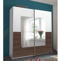 Armoire design portes coulissantes coloris noyer/blanc Tokyo